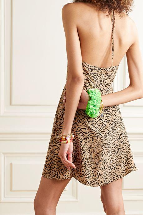 Sand Reece tiger-print silk crepe de chine halterneck mini dress | HVN a2DBHN