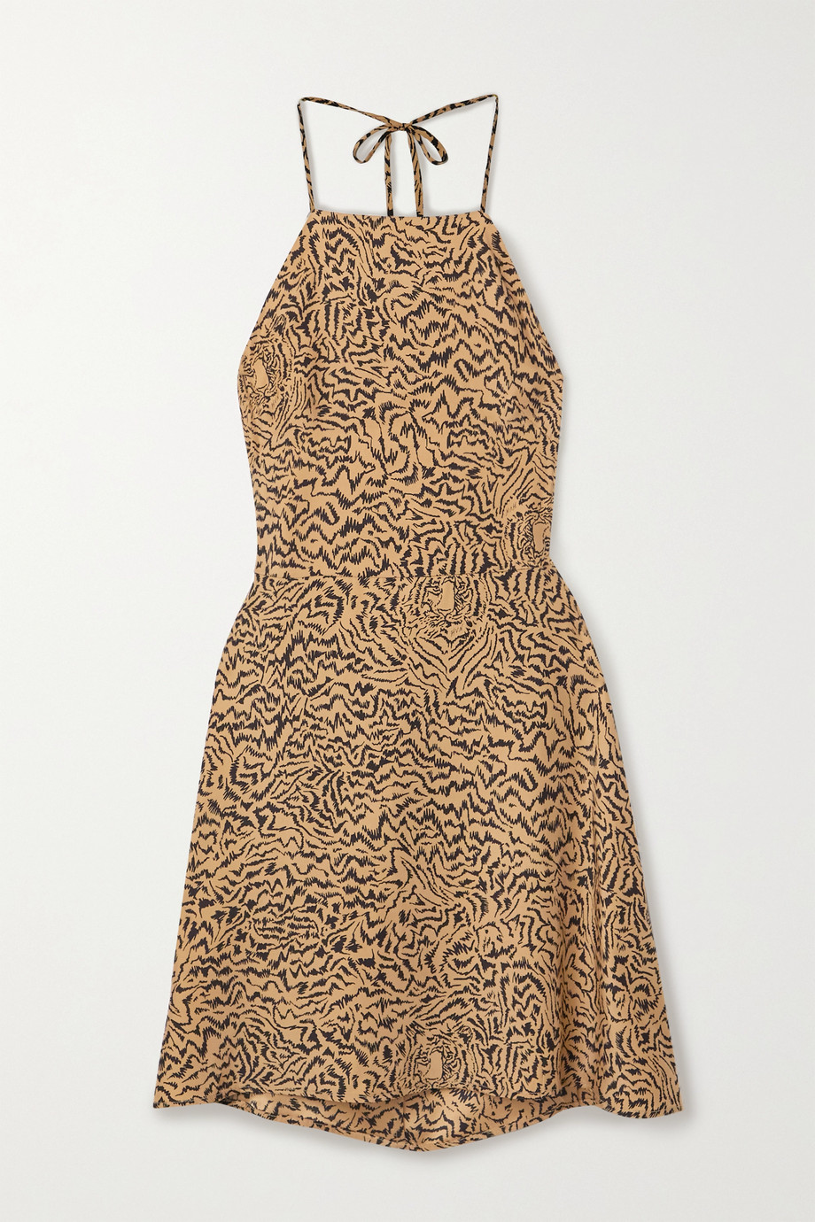 HVN Reece tiger-print silk crepe de chine halterneck mini dress