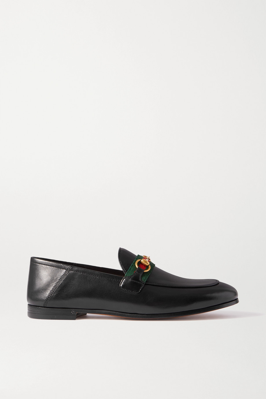 Gucci Brixton horsebit-detailed webbing-trimmed leather collapsible-heel loafers