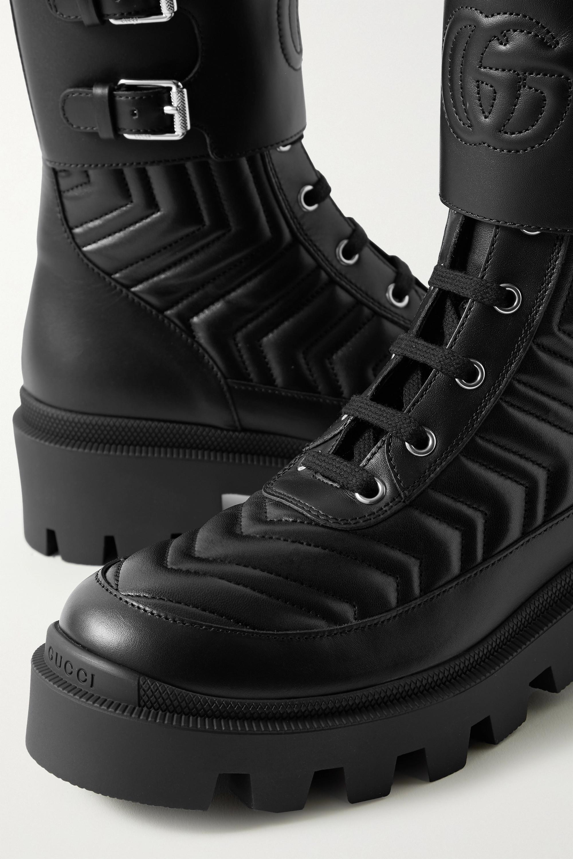 Gucci Frances logo-embroidered matelassé leather ankle boots