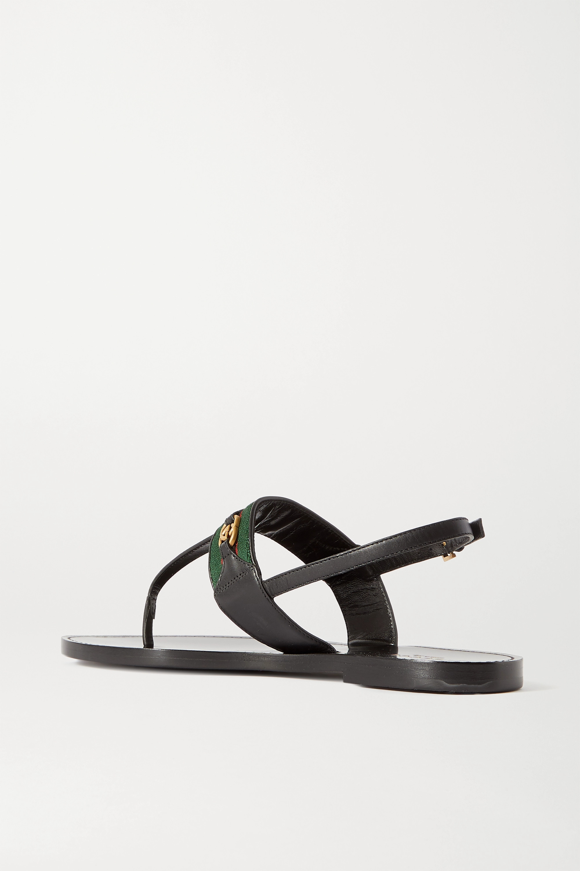 Gucci Siryo embellished webbing-trimmed leather sandals