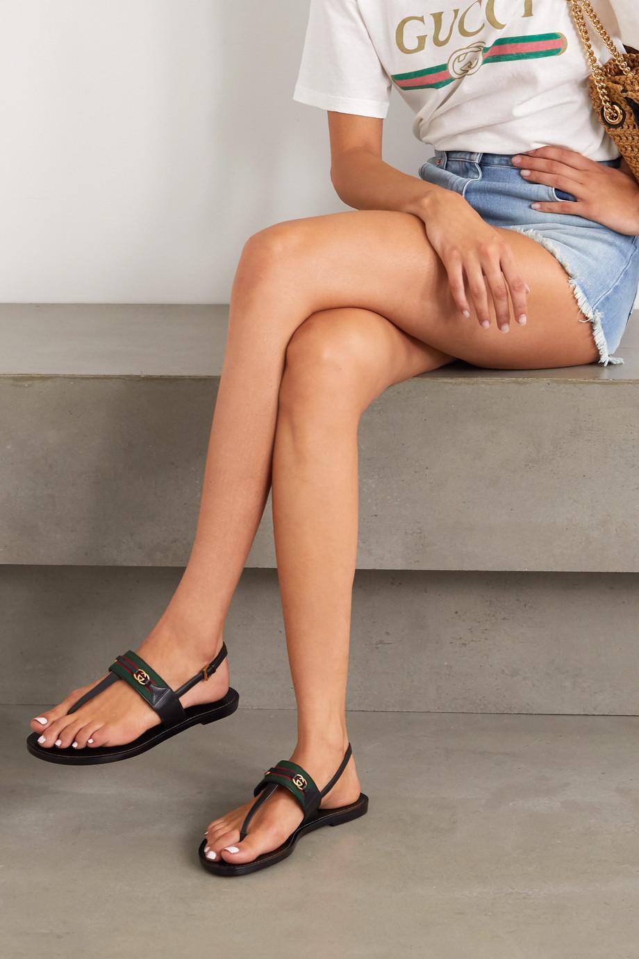 Gucci Siryo Sandalen aus Leder mit Webstreifen und Verzierungen