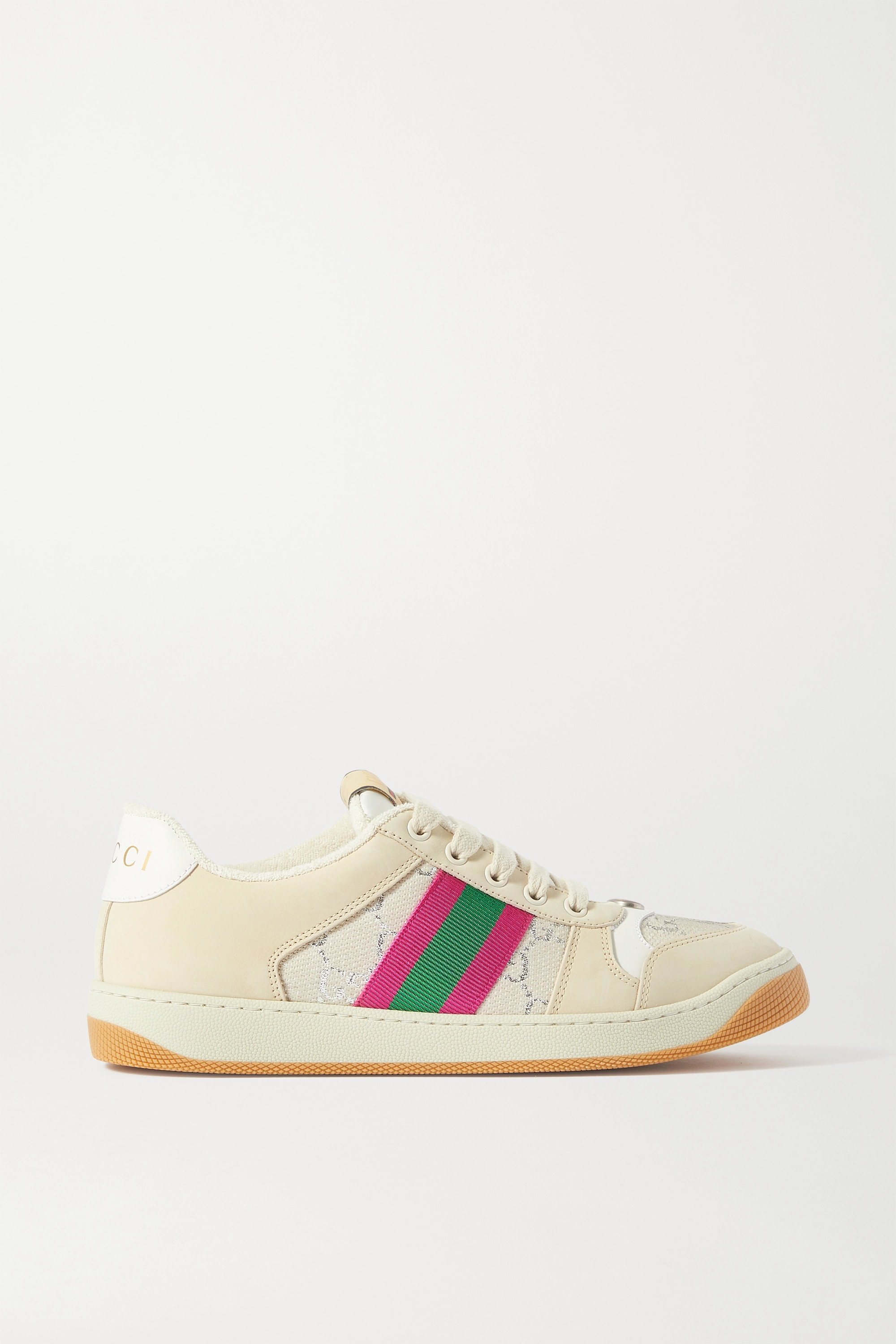 Gucci Screener suede and canvas-trimmed printed leather sneakers