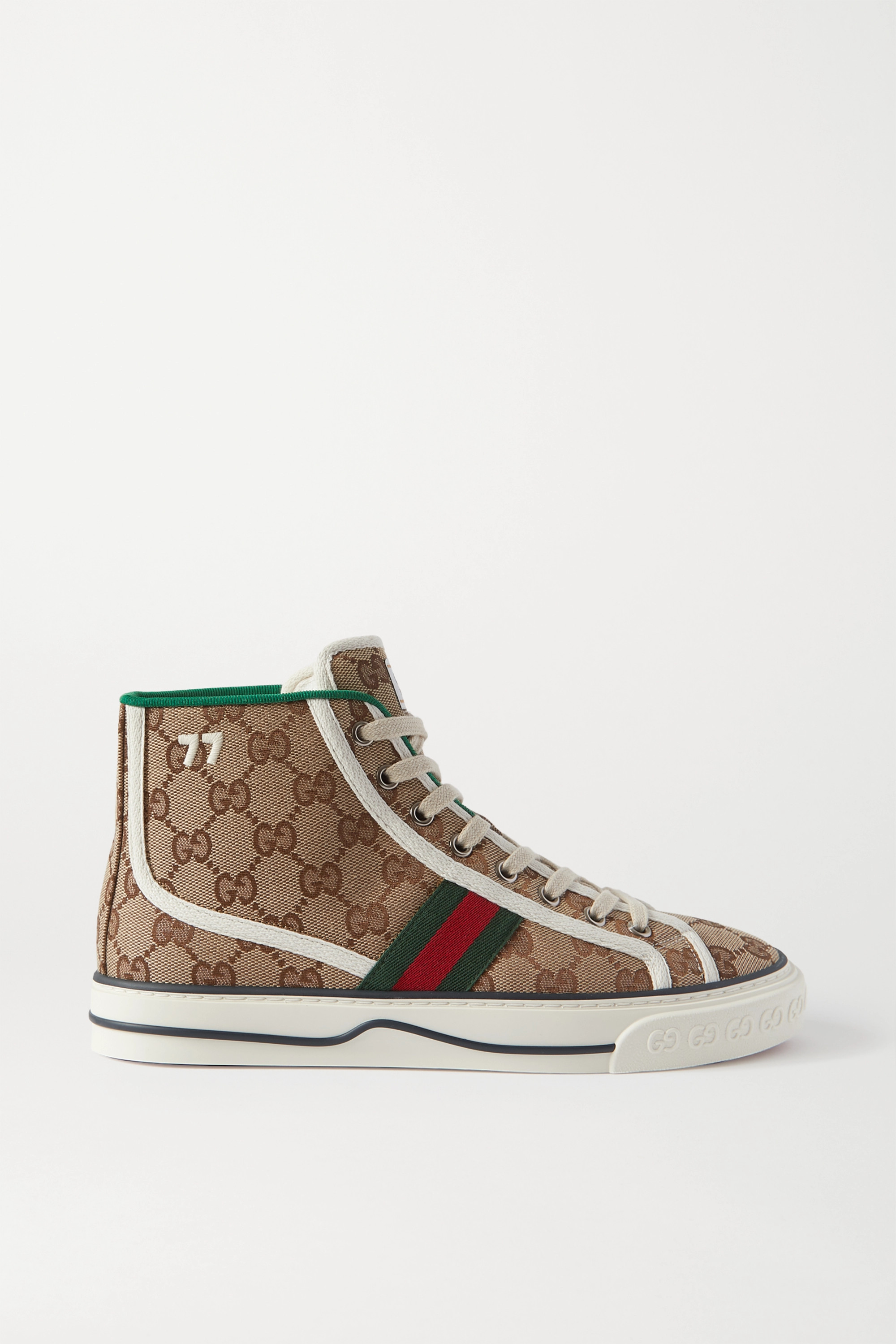 Gucci Tennis 1977 logo-embroidered printed canvas high-top sneakers