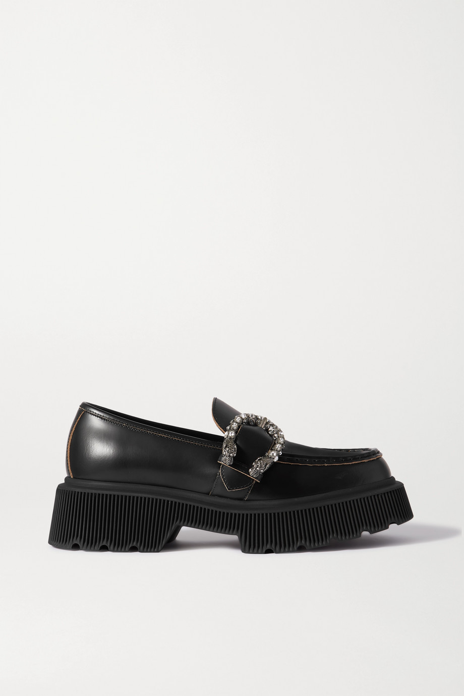 Gucci Hunder crystal-embellished leather platform loafers