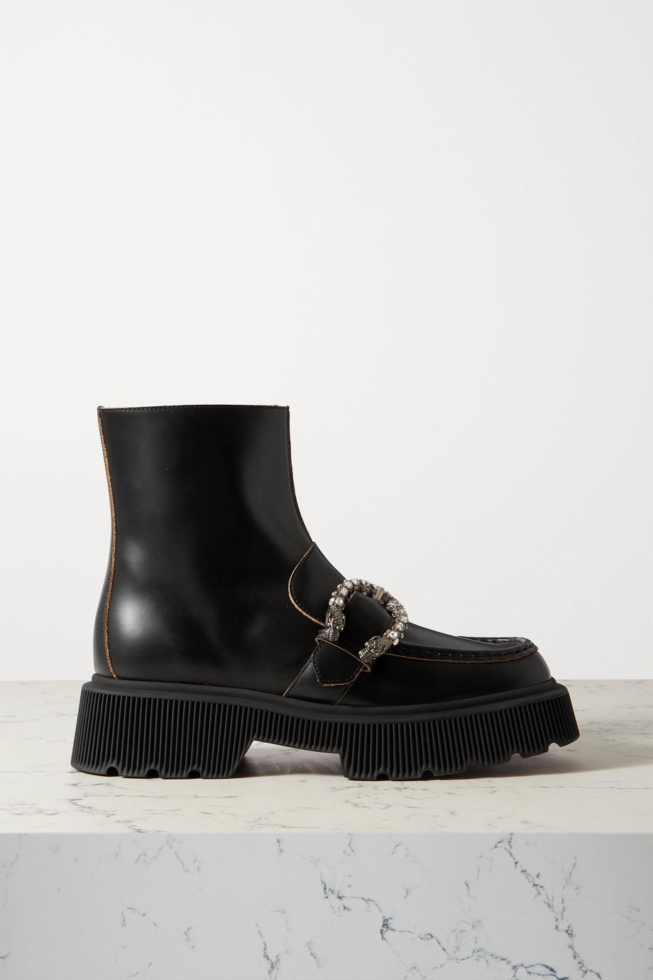 Gucci Hunder Plateaustiefel aus Leder mit Schnalle