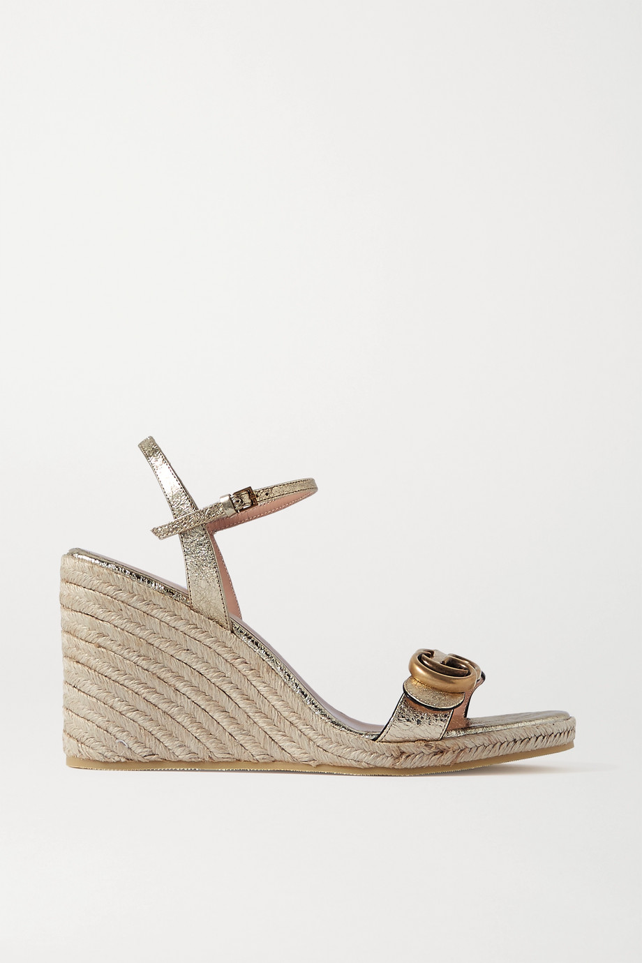 Gucci Pilar logo-embellished metallic leather espadrille wedge sandals