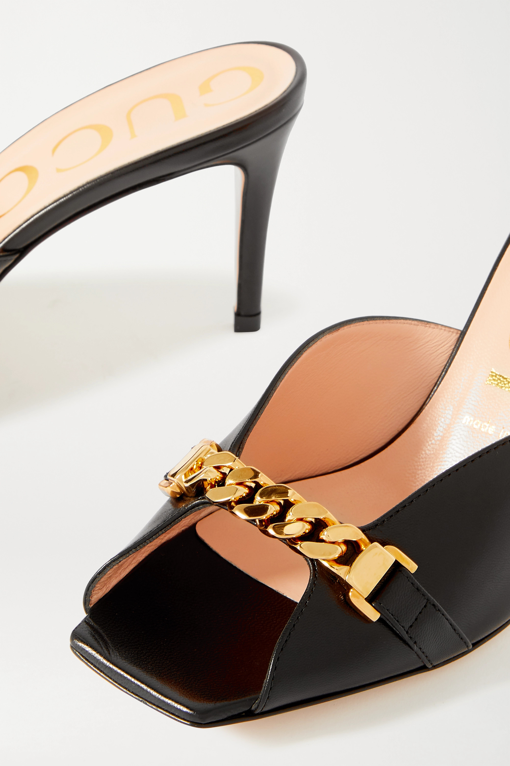 Gucci Sylvie chain-embellished leather mules