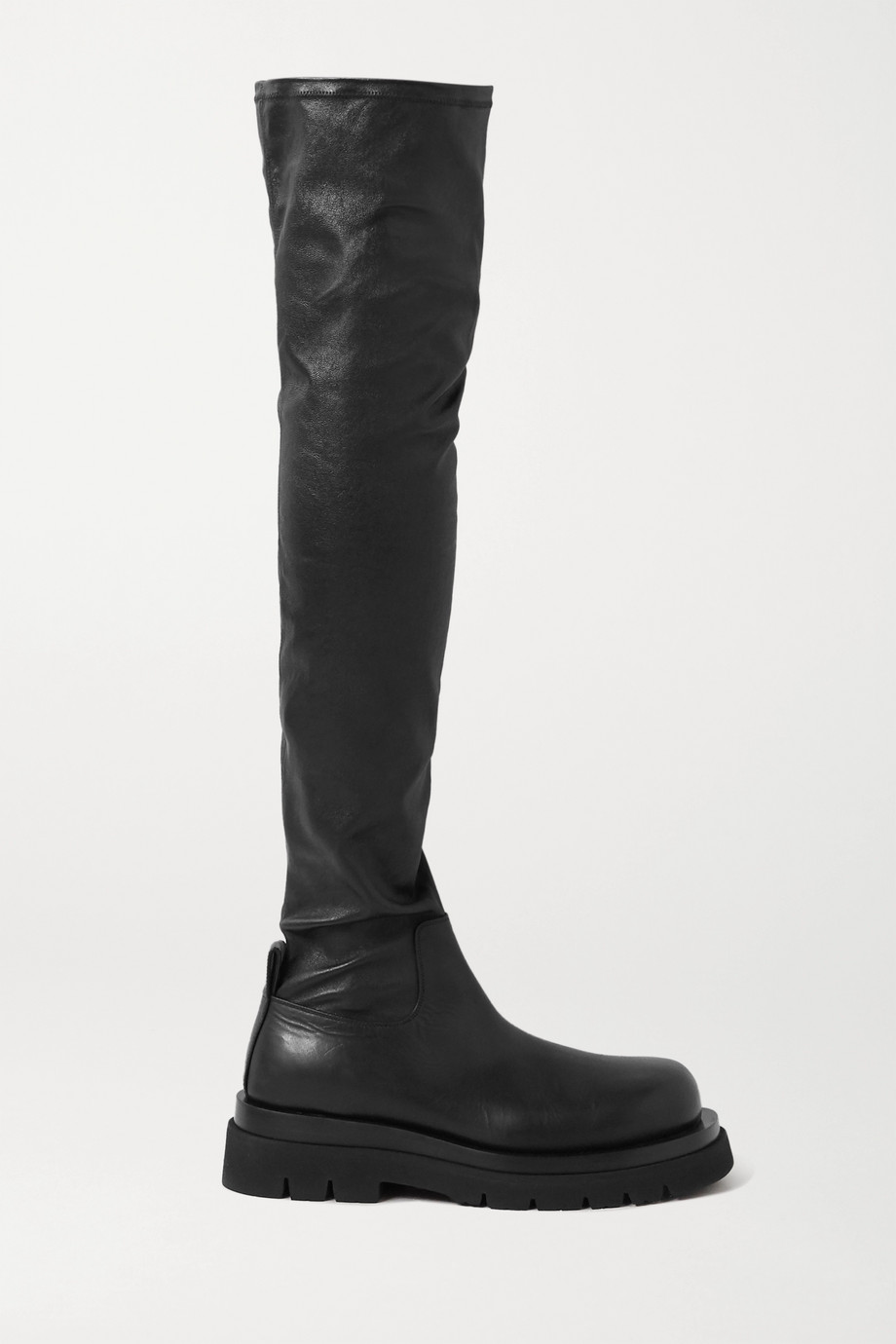 Bottega Veneta Rubber-trimmed leather over-the-knee boots