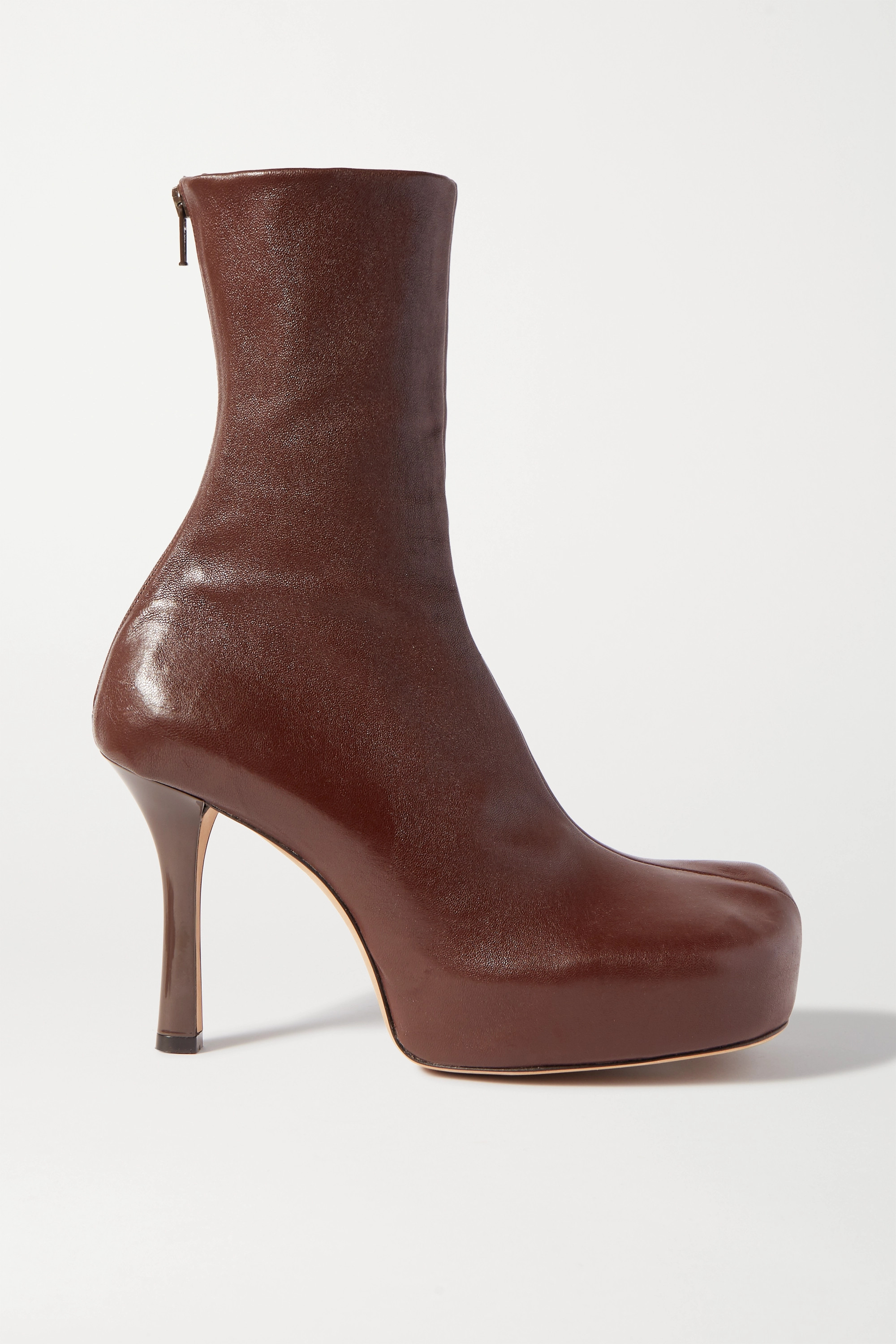 Brown Leather platform ankle boots