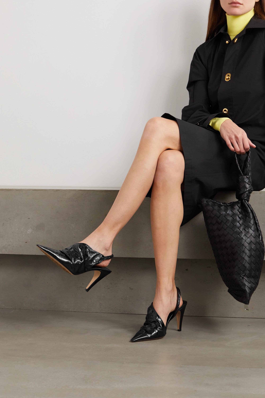 Bottega Veneta Crinkled glossed-leather slingback pumps