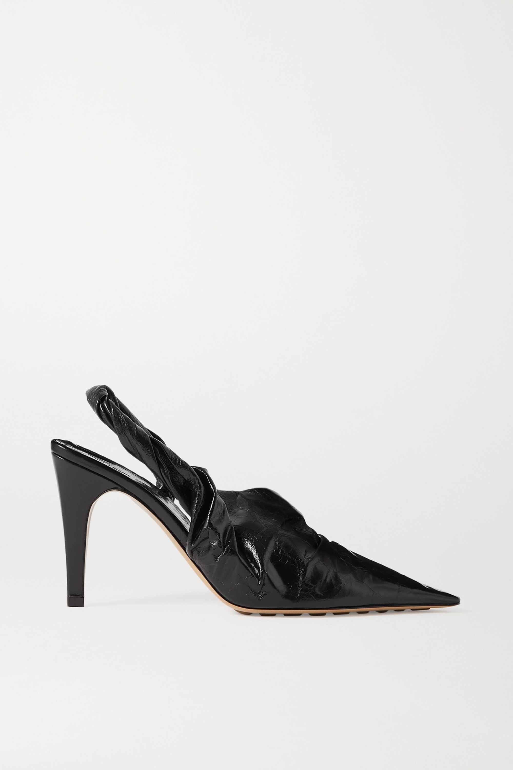 Bottega Veneta Crinkled glossed-leather slingback pumps