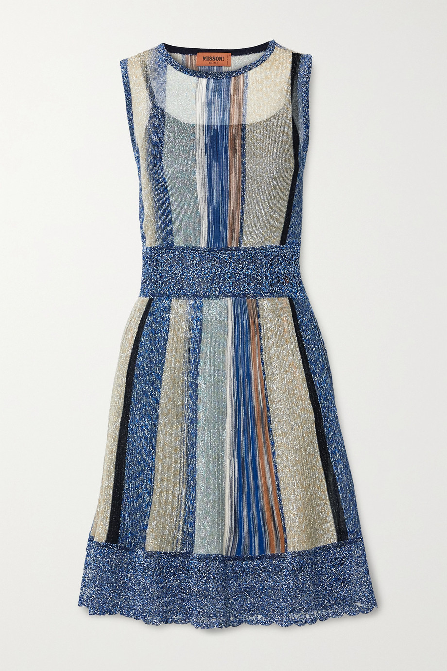 Missoni Striped metallic crochet-knit mini dress