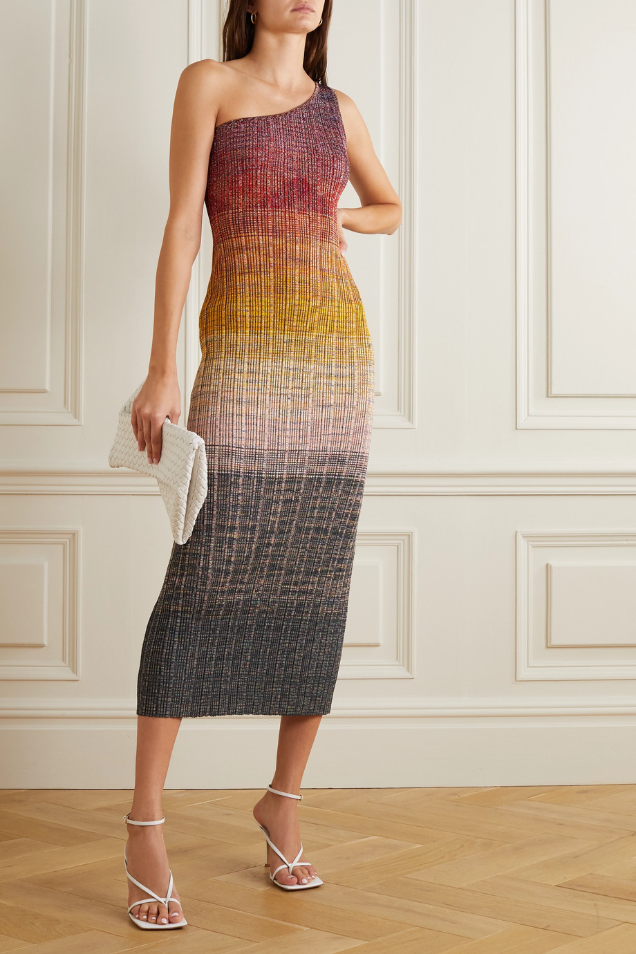 Missoni One-shoulder dégradé metallic wool-blend crochet-knit midi dress
