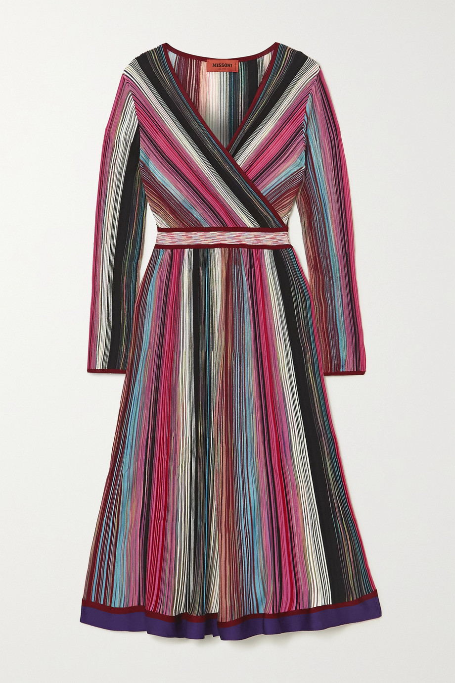 Missoni Wrap-effect striped crochet-knit dress