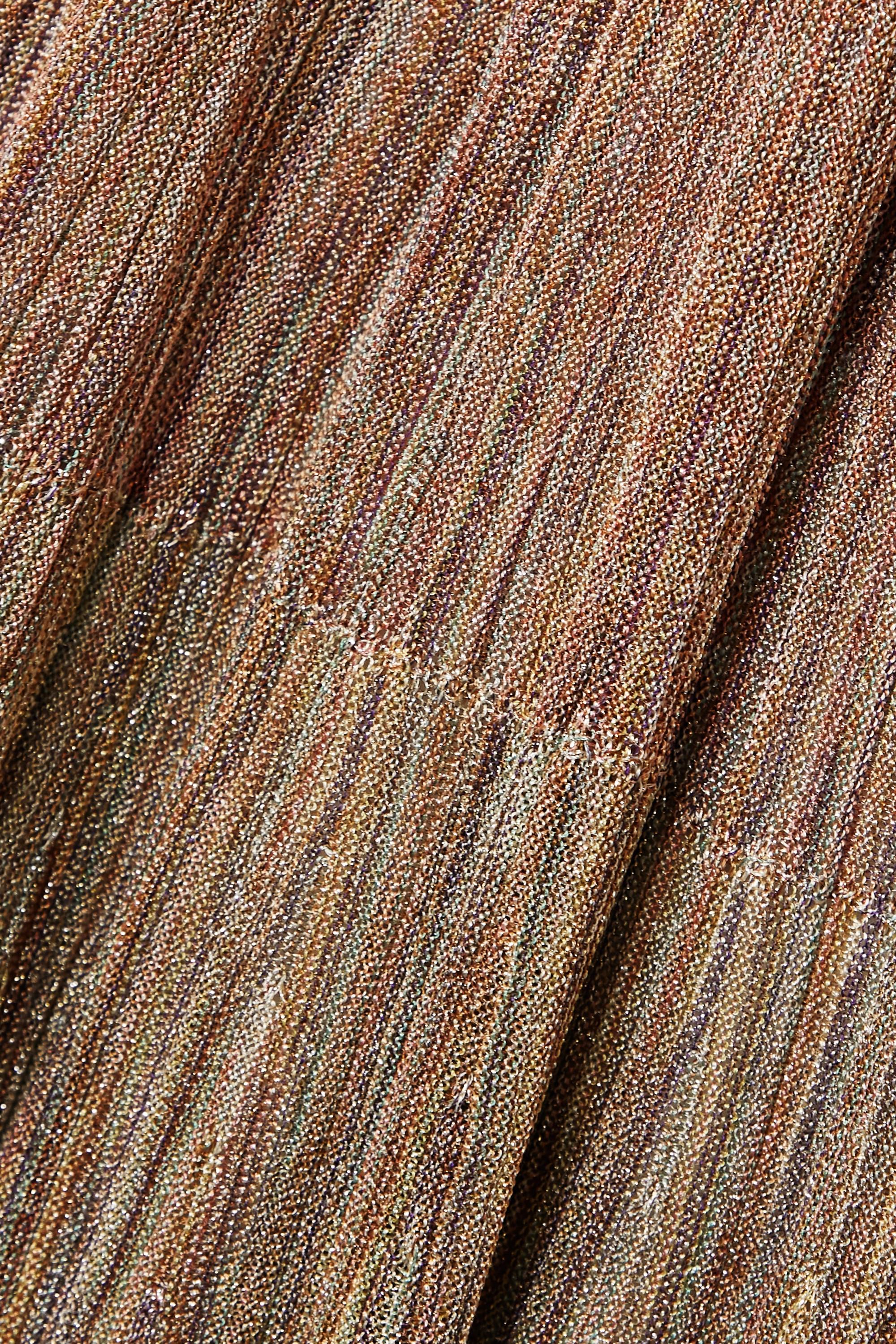 Missoni Maxikleid aus Metallic-Häkelstrick mit Rüschen