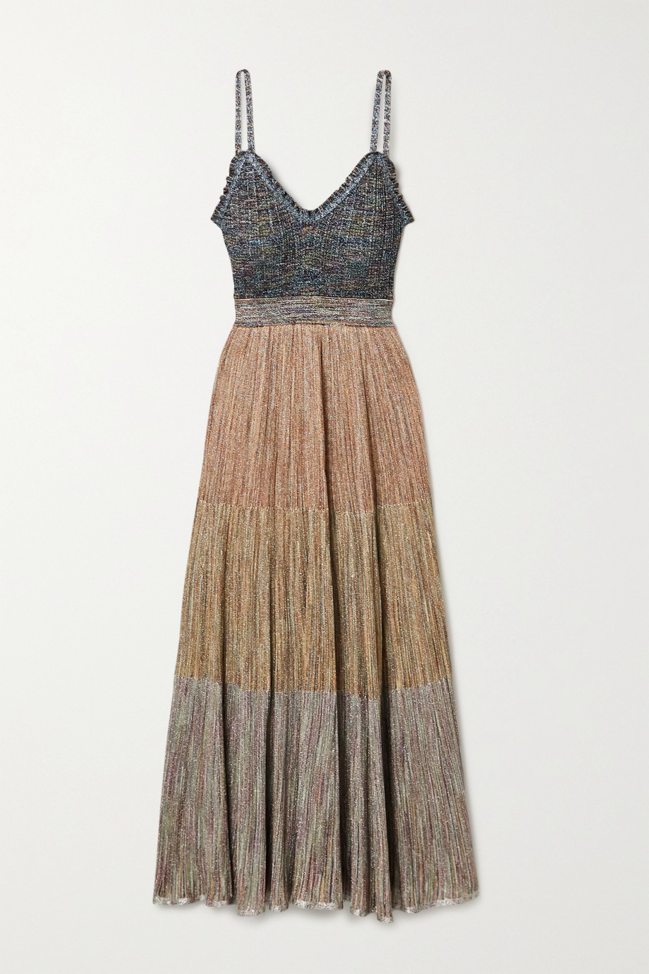 Missoni Ruffled metallic crochet-knit maxi dress