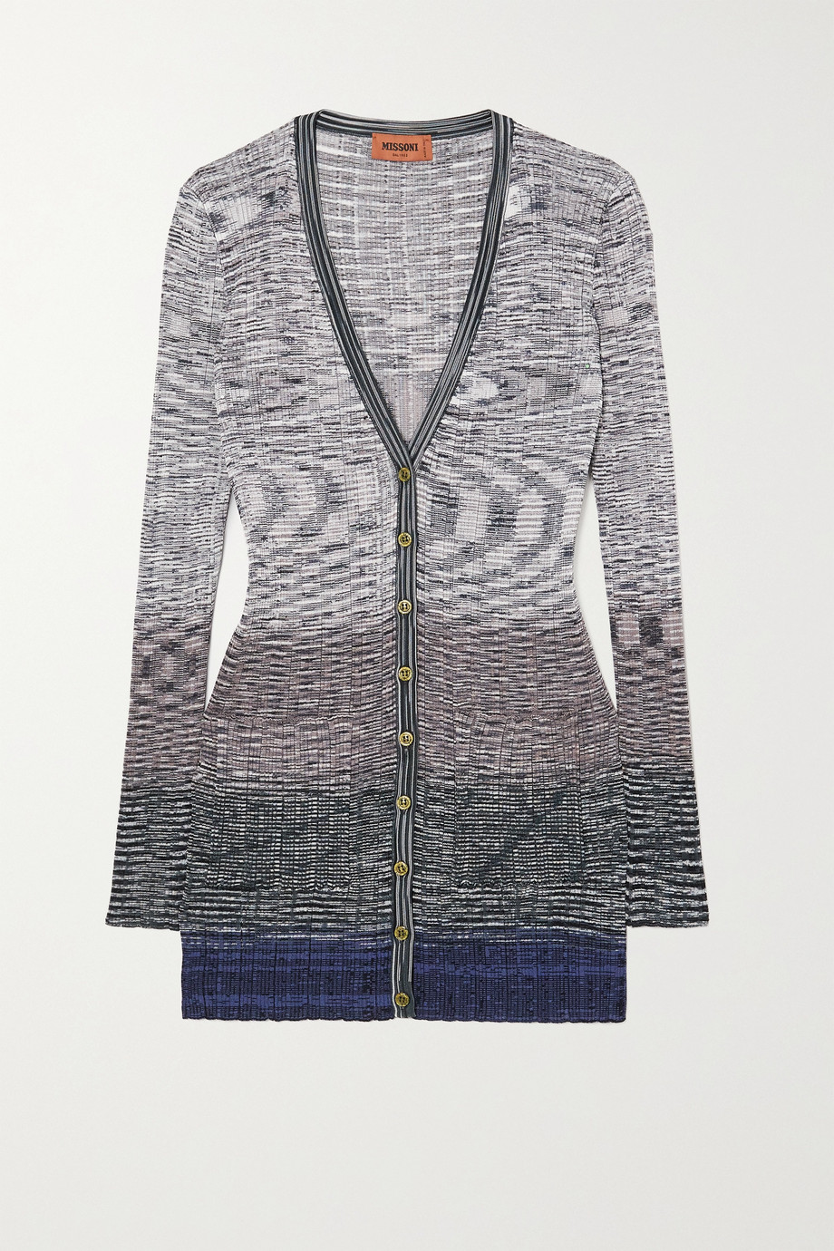 Missoni Cardigan aus geripptem Häkelstrick in Space-Dye-Optik