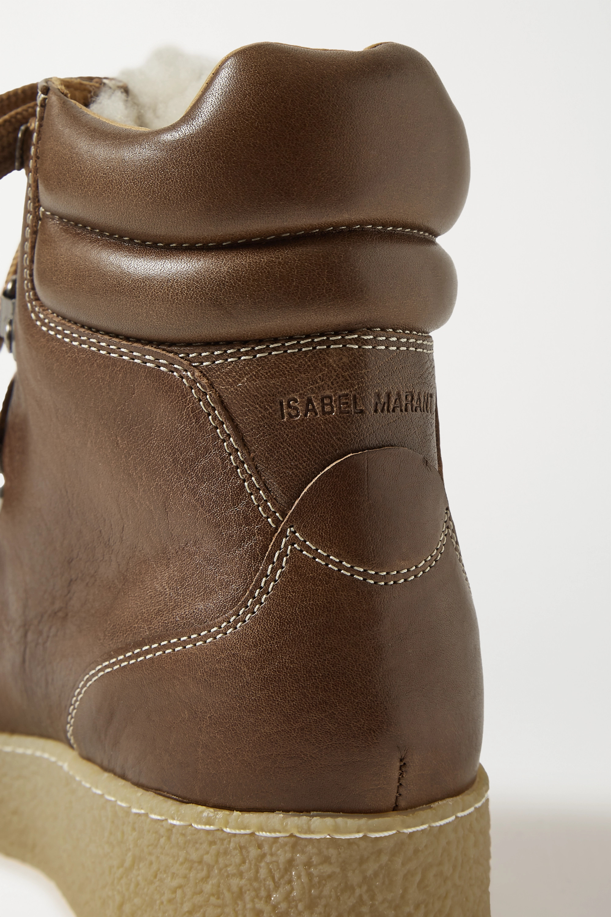 Brown Alpica Shearling-trimmed Leather Ankle Boots   Isabel Marant