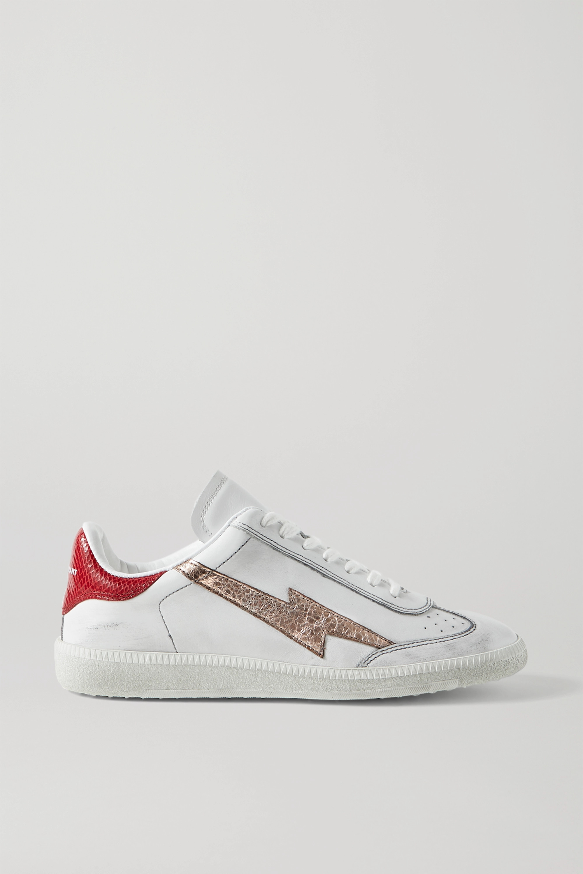 Isabel Marant Bryce distressed metallic-trimmed snake-effect and smooth leather sneakers