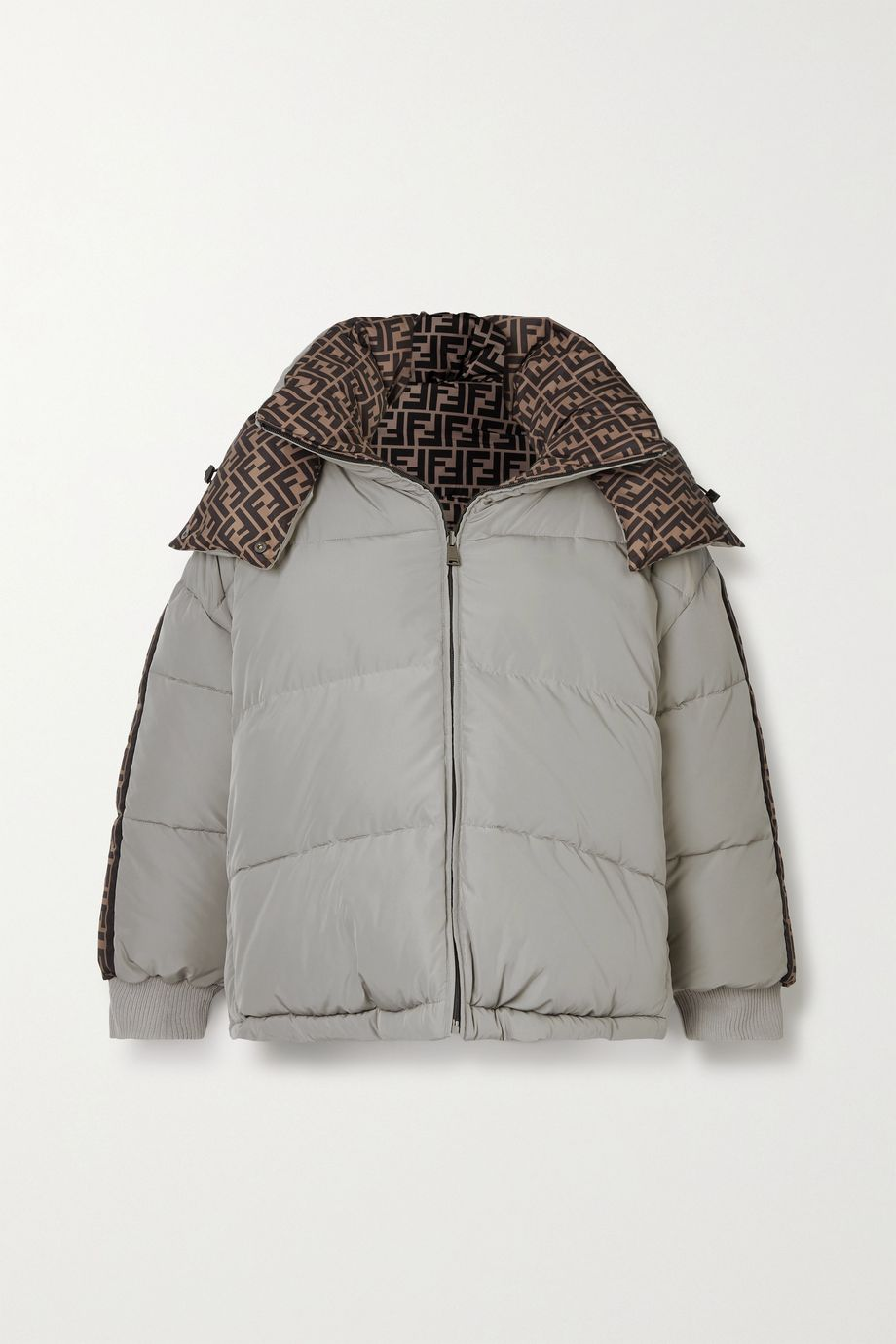 Fendi Reversible hooded printed quilted shell down jacket