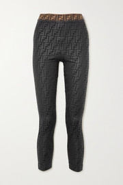 Fendi Glittered printed stretch leggings