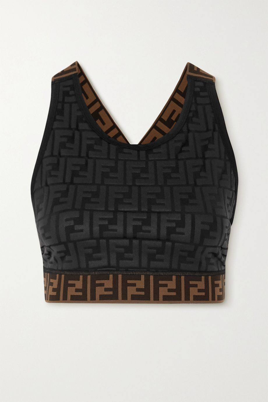 Fendi Jacquard-trimmed printed stretch sports bra