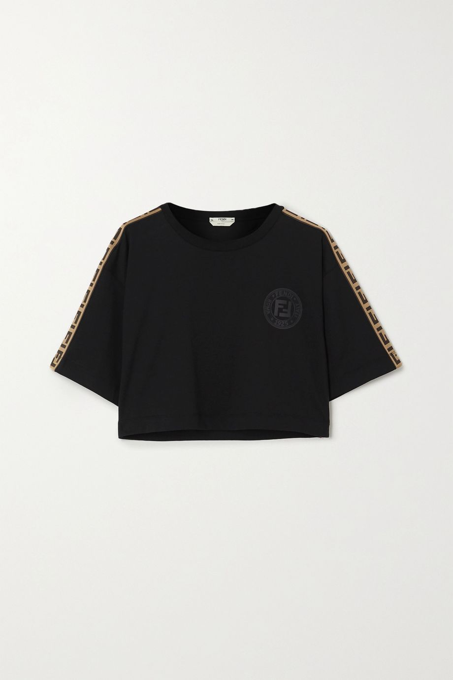 Fendi Cropped jacquard-trimmed printed cotton-jersey T-shirt