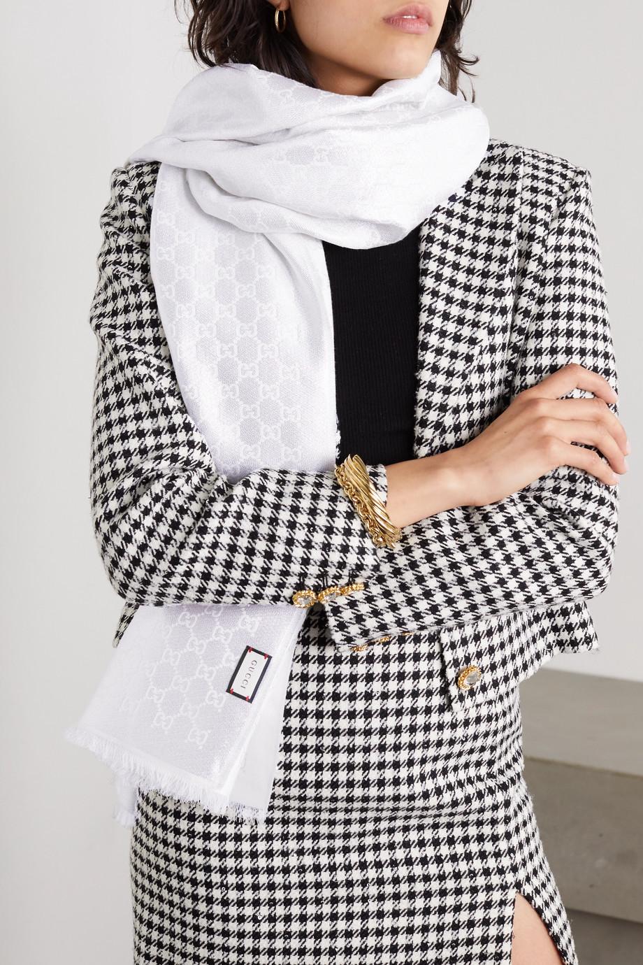 Gucci Schal aus Metallic-Jacquard aus einer Baumwollmischung