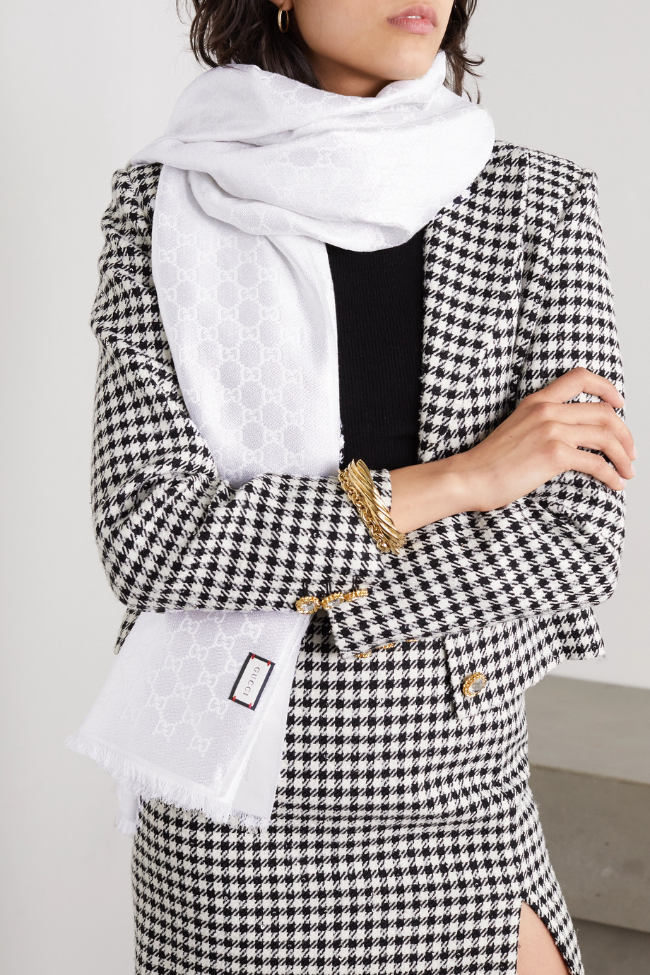 Gucci Metallic cotton-blend jacquard scarf