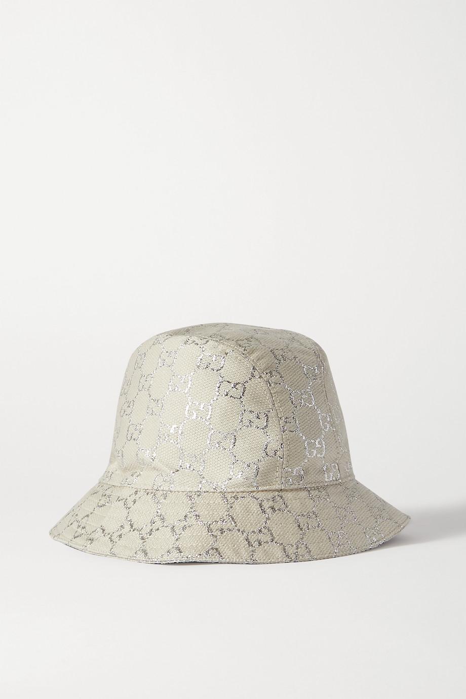 Gucci 金属感羊毛混纺提花渔夫帽