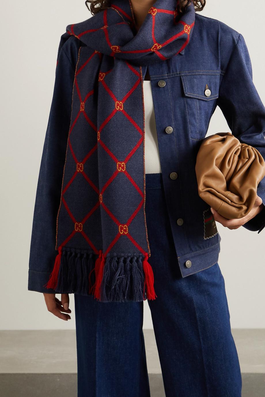 Gucci Fringed wool-jacquard scarf