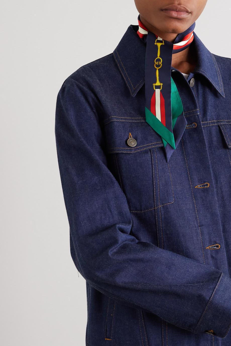 Gucci 【NET SUSTAIN】印花真丝斜纹布围巾