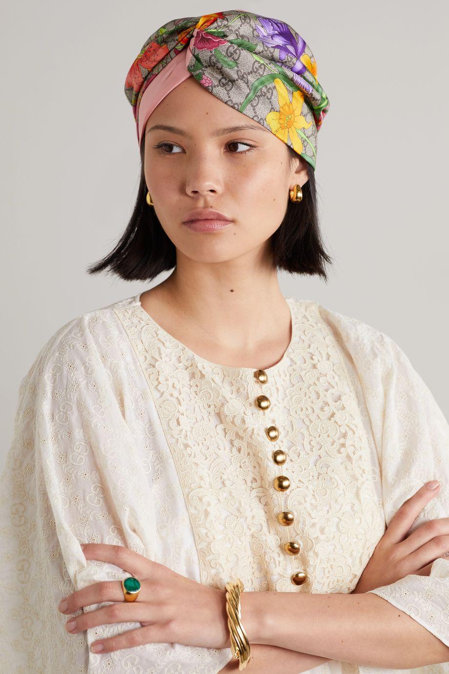 Gucci 拧绕式印花真丝斜纹布发箍
