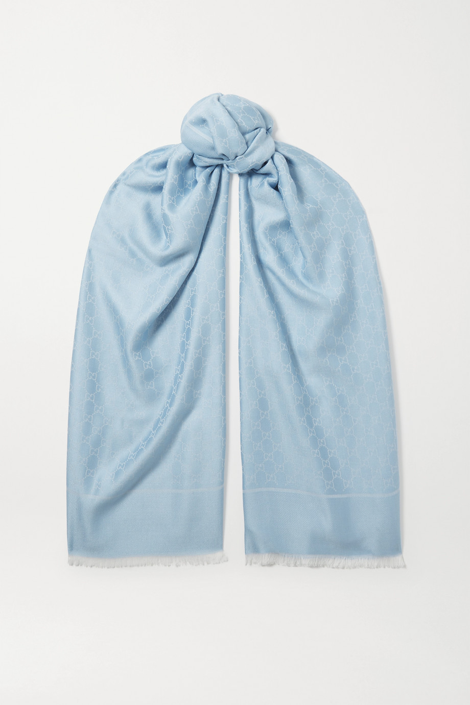 Gucci Fringed wool, cotton and silk-blend jacquard scarf