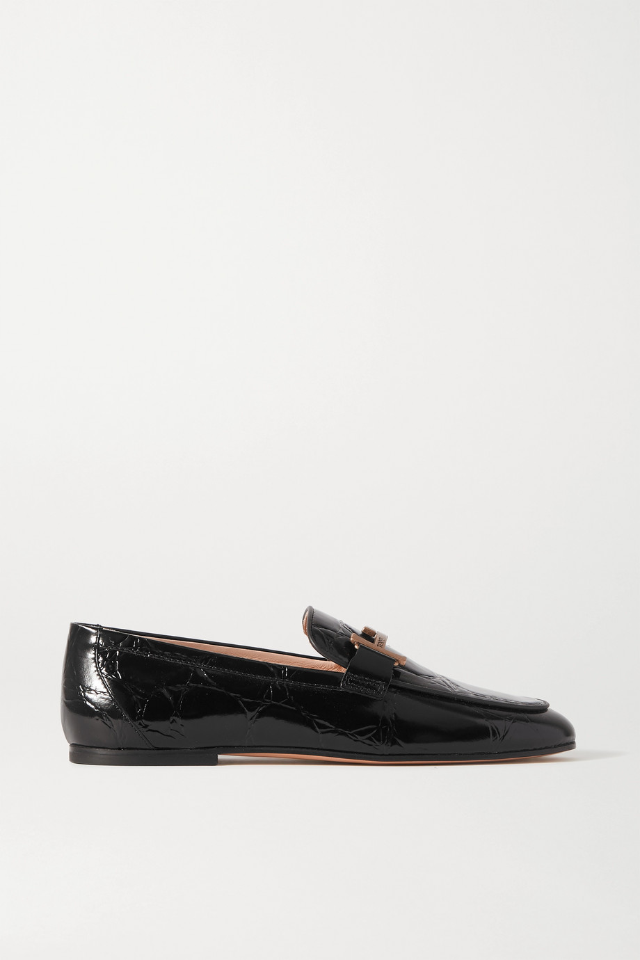 Tod's Doppia embellished glossed croc-effect leather loafers