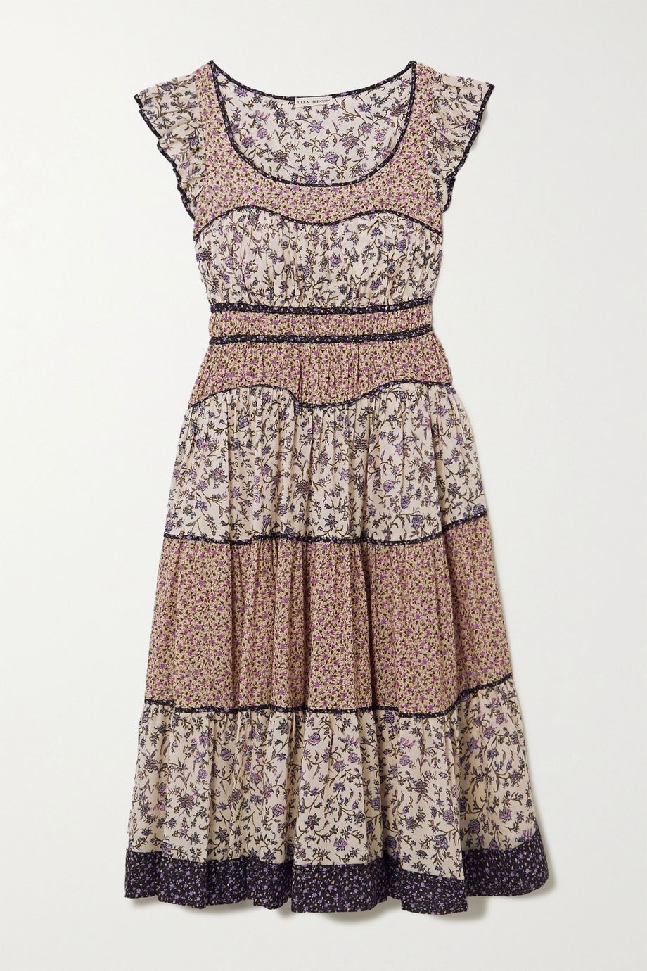Ulla Johnson Odelia ruffled tiered floral-print cotton-blend voile midi dress