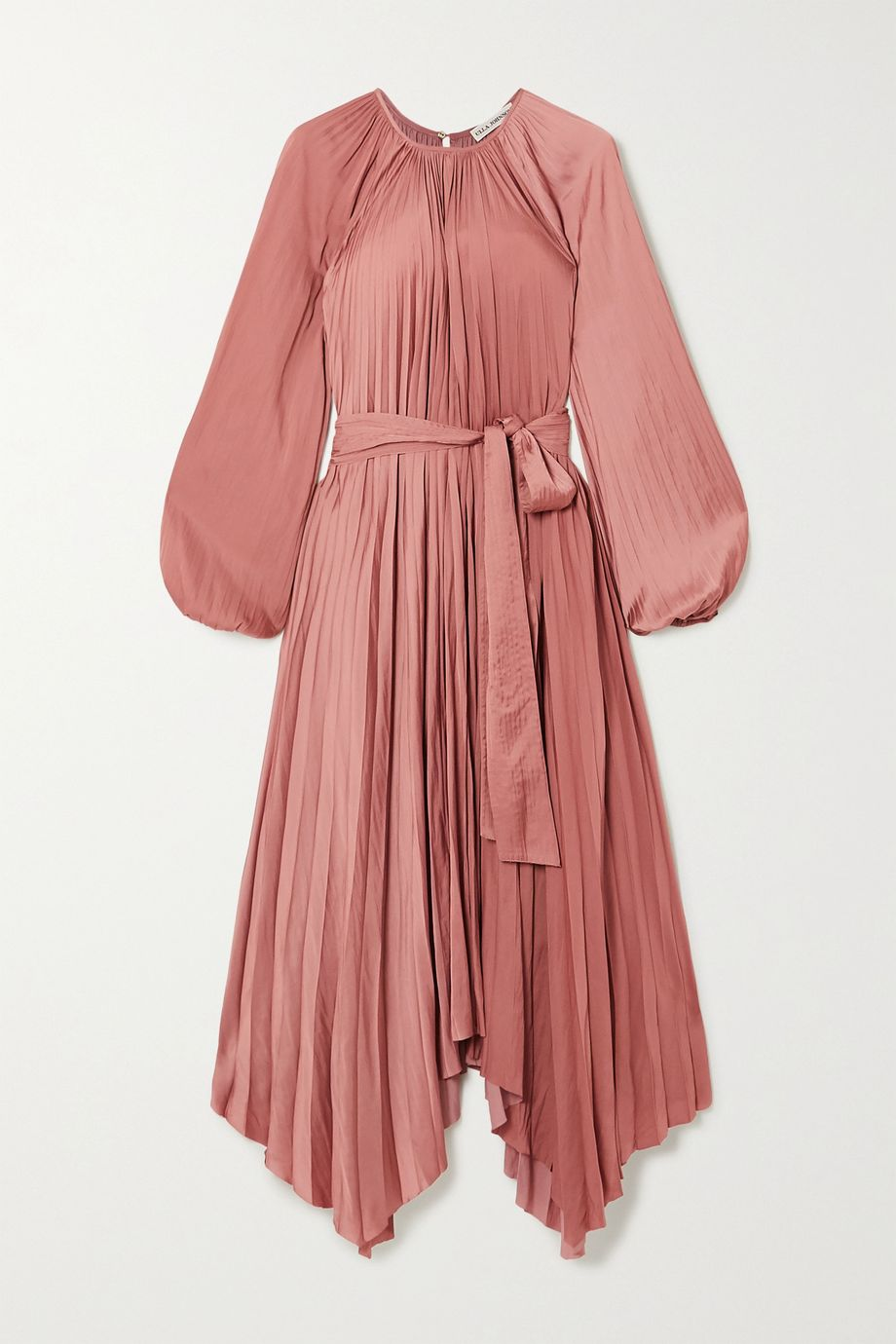 Ulla Johnson Yalena belted pleated satin midi dress