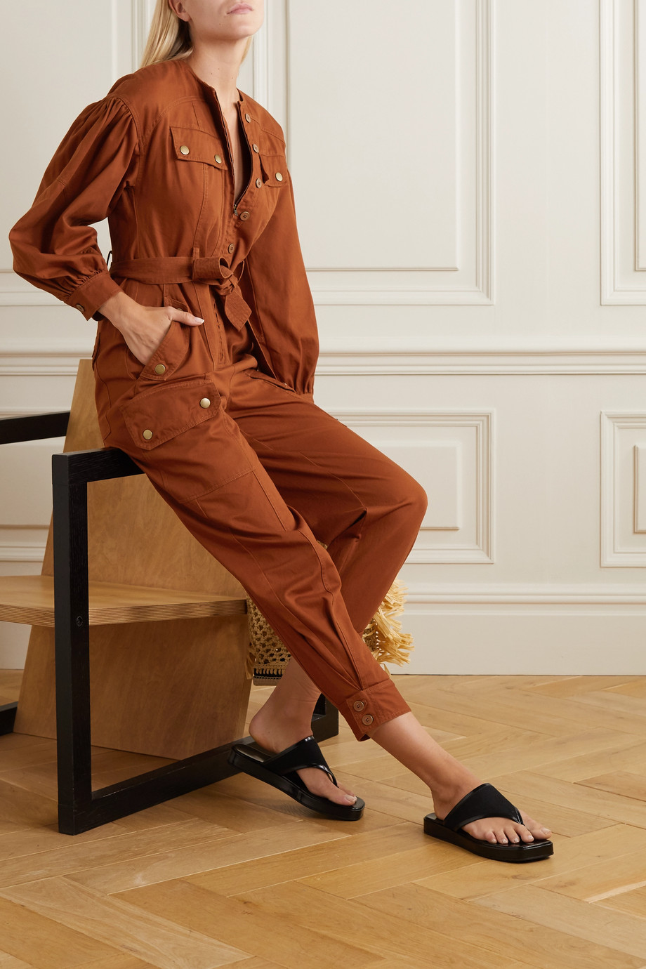 Ulla Johnson Stearling belted cotton-twill jumpsuit