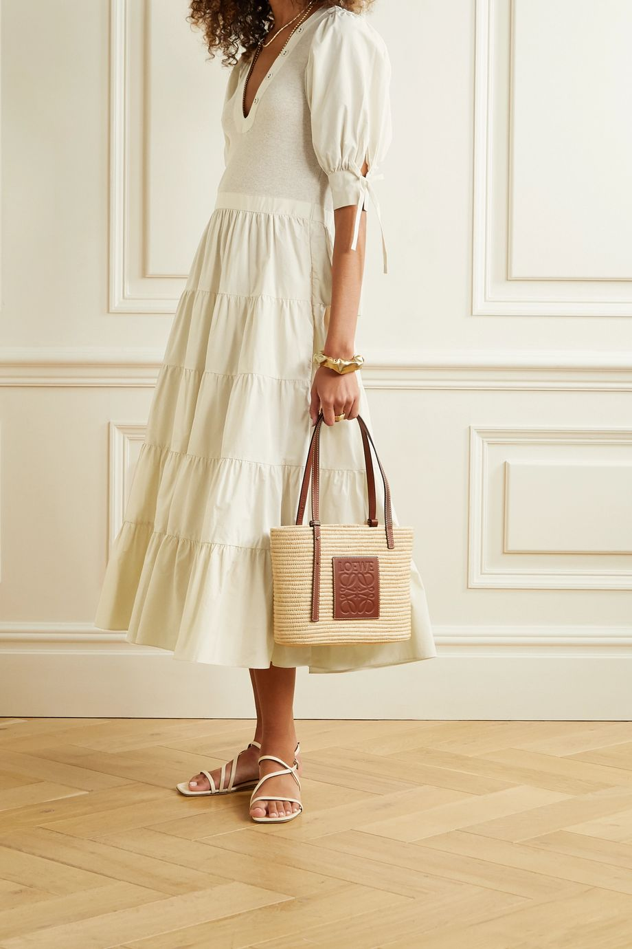Ulla Johnson Wilda tiered cotton-poplin and jersey midi dress