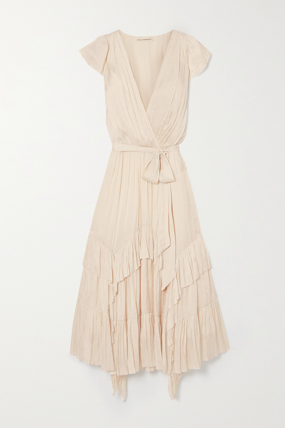Ulla Johnson Robe asymétrique en satin froissé à volants Abella