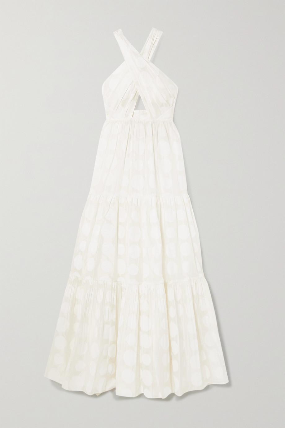Ulla Johnson Fontaine 挖剪刺绣提花棉丝混纺挂脖超长连衣裙