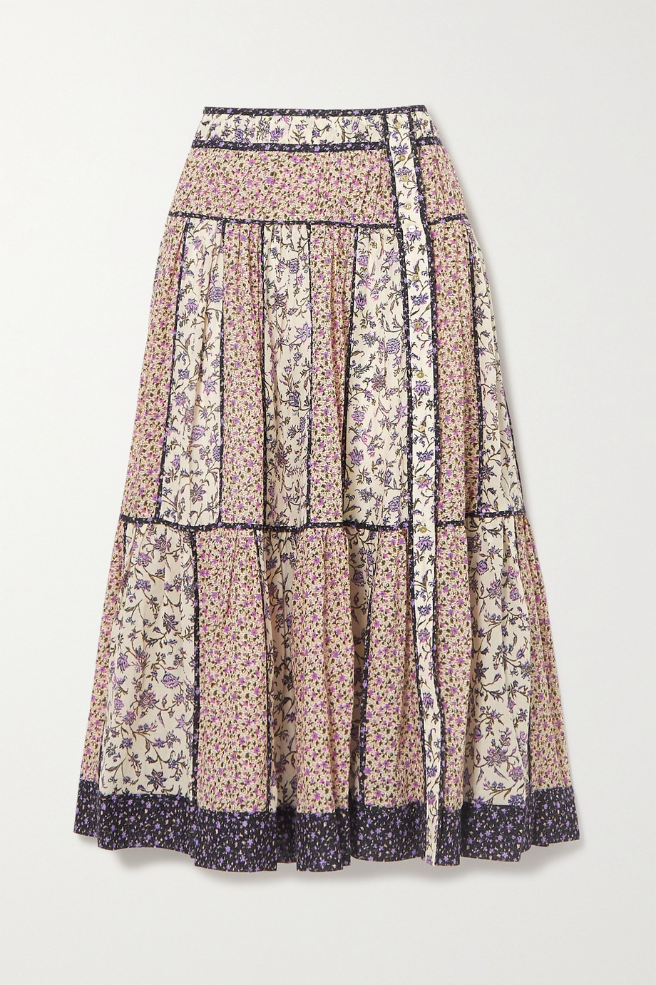 Ulla Johnson Josephine tiered floral-print cotton-blend voile midi skirt