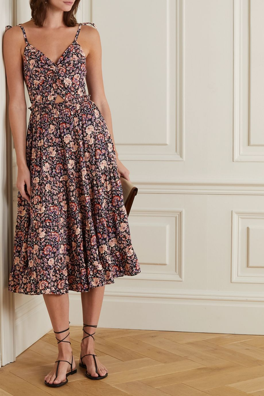 Ulla Johnson Kali knotted cutout floral-print cotton-blend midi dress