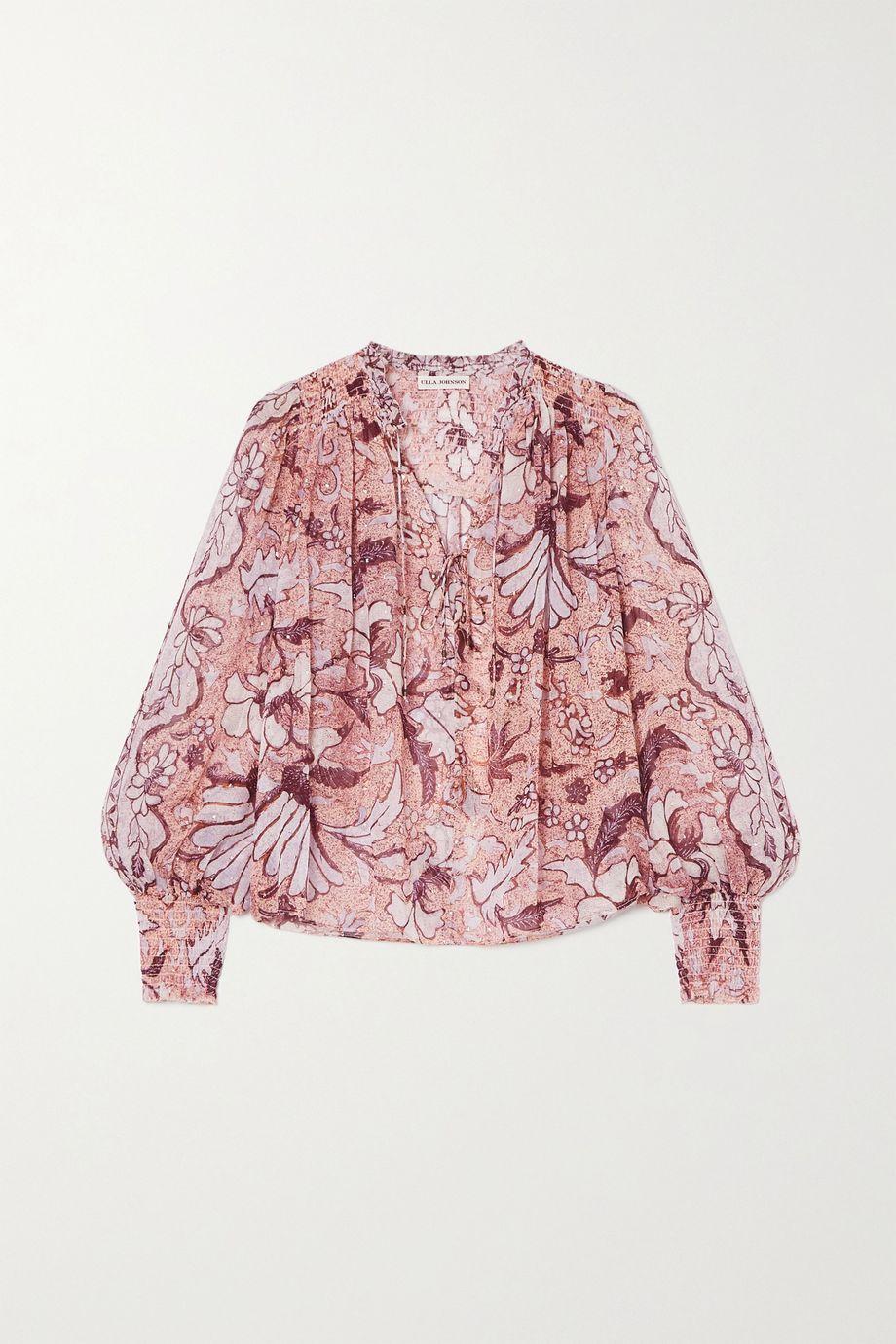 Ulla Johnson Anita floral-print fil coupé silk and Lurex-blend blouse