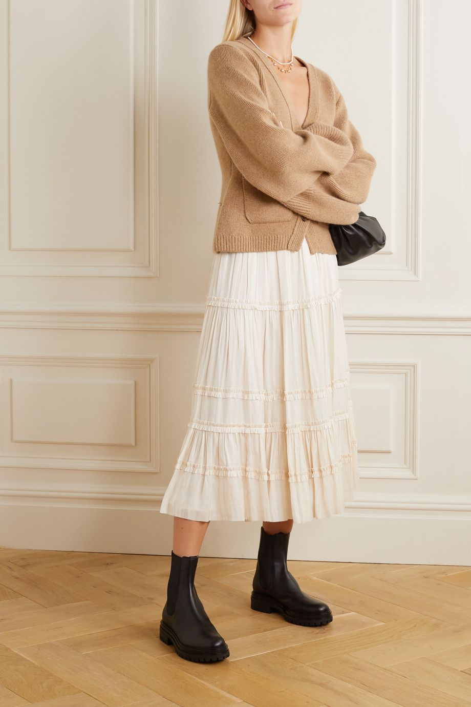Ulla Johnson Carina tiered crinkled-satin midi skirt