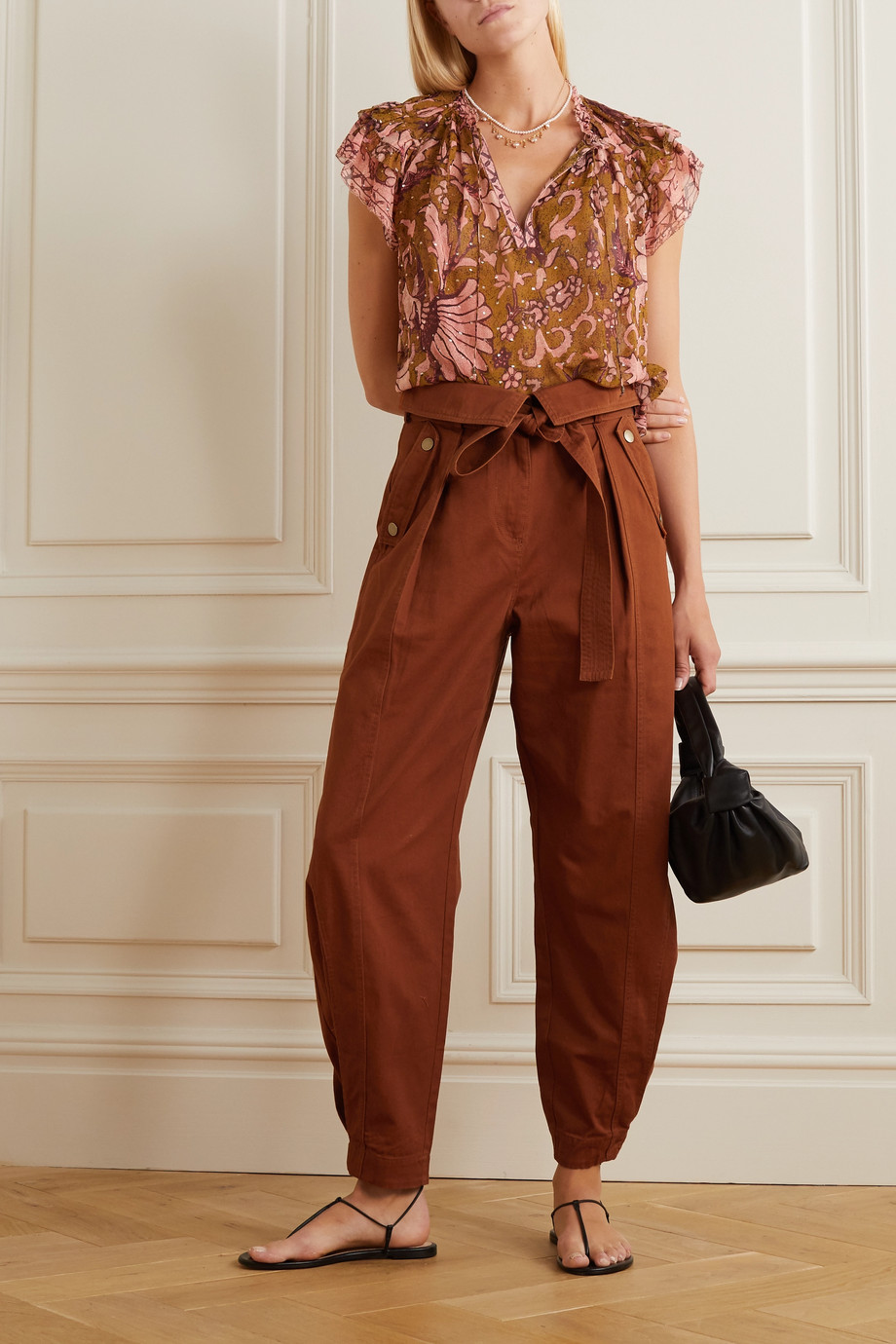 Ulla Johnson Rowen belted cotton-twill tapered pants