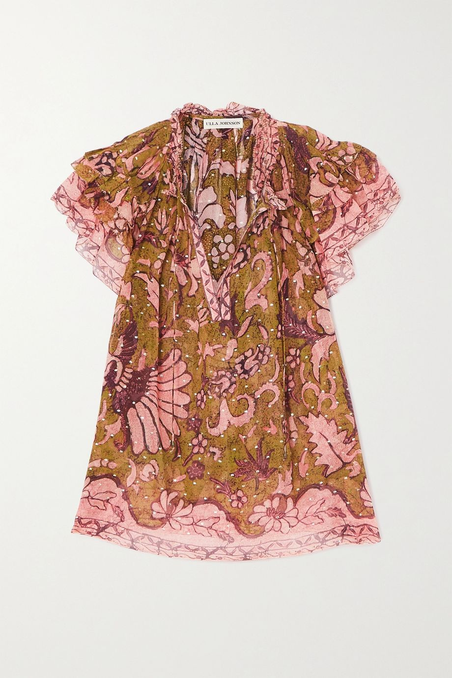 Ulla Johnson Alexi ruffled floral-print fil coupé silk-blend blouse