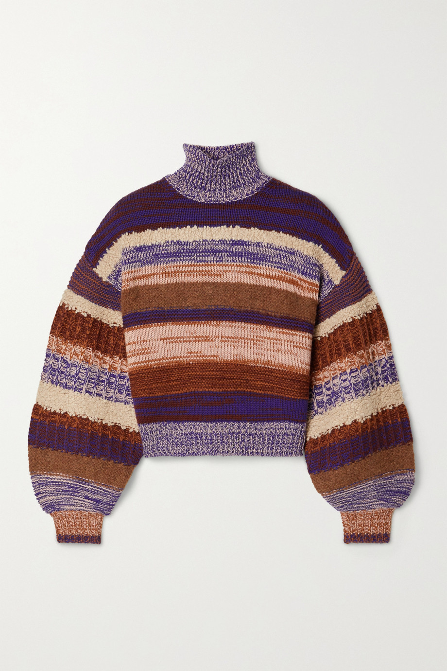 Ulla Johnson Shakina cropped striped wool-blend turtleneck sweater