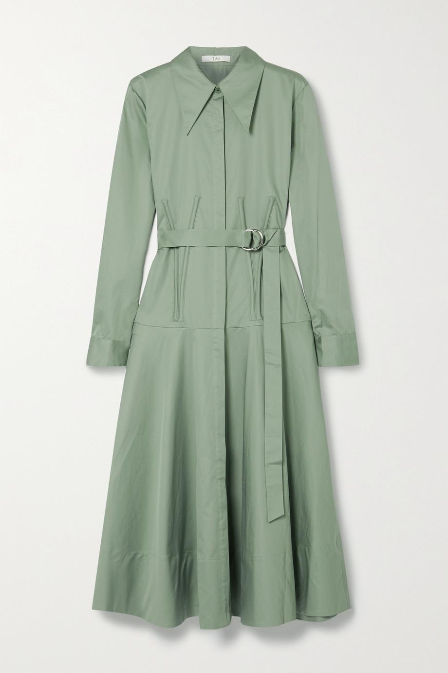Tibi Belted cotton-poplin midi shirt dress